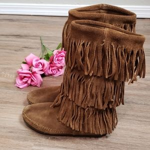 Minnetonka 3-Layer Fringe Suede Moccasin Boots